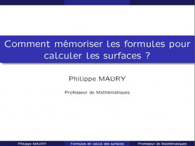 Comment mémoriser les formules pour calculer les surfaces ?